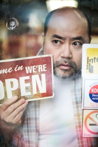 Promotional still from Soulpepper Theatre, credit Leon Aureus. For more or to see the original: http://soulpepper.ca/kimsconvenience