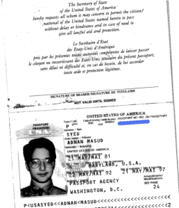 Shot of Adnan's passport, originally appearing on Split the Moon