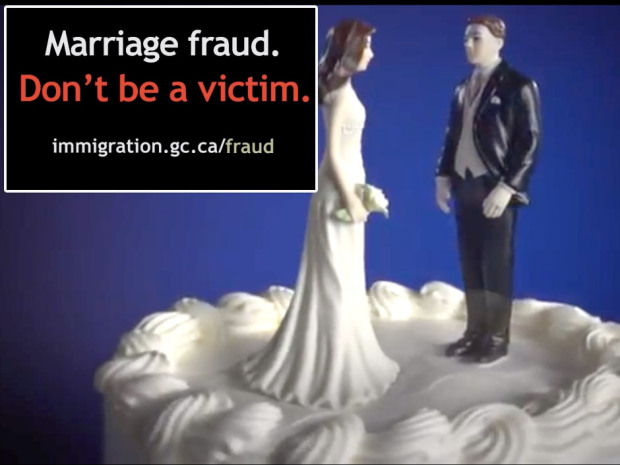 Part of the Canadian government's campaign to raise public awareness of the pitfalls of marriage fraud.