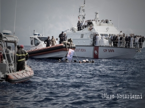 Migrant rescue at sea, photo by Maso Notarianni