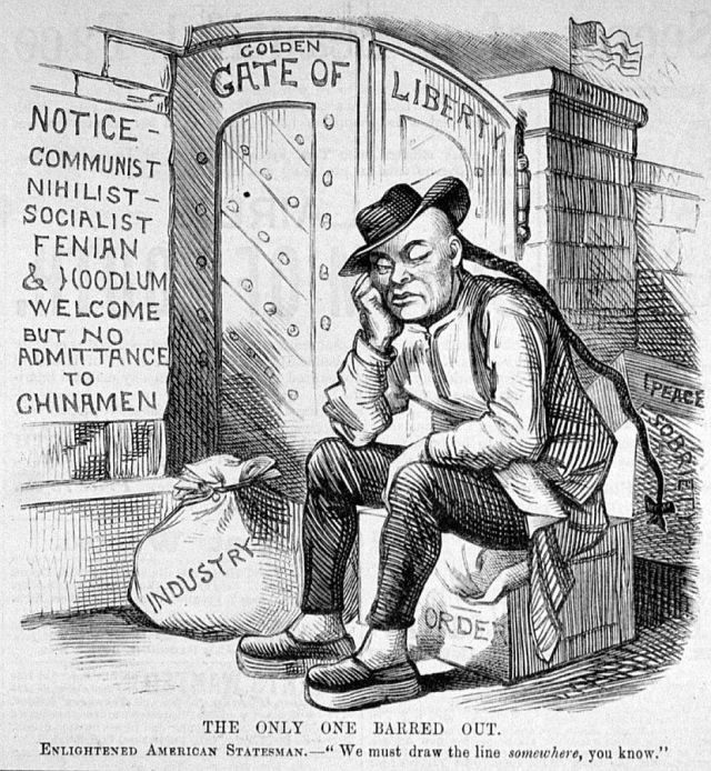 As a cartoon of the 19th century demonstrates, The US has a long history of controversy over exclusionist immigration policies.