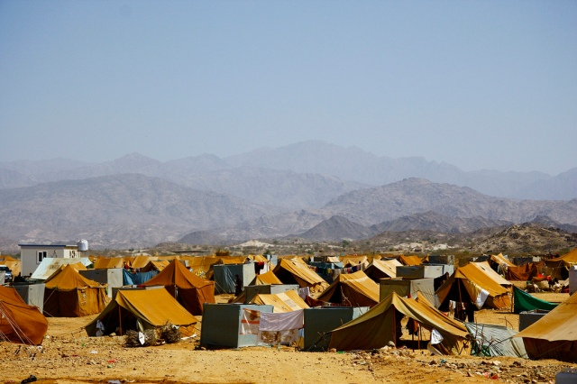 Mazrak camp in the tough mountainous scrublands of Yemen's north-west border with Saudi Arabia is now home to more than 10,000 people displaced by the escalating war between the government and rebels from the Huthi clan.